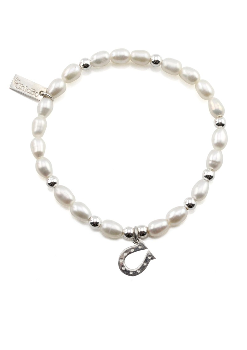 Mini Pearl Bracelet with Horseshoe Charm - Pearl main image