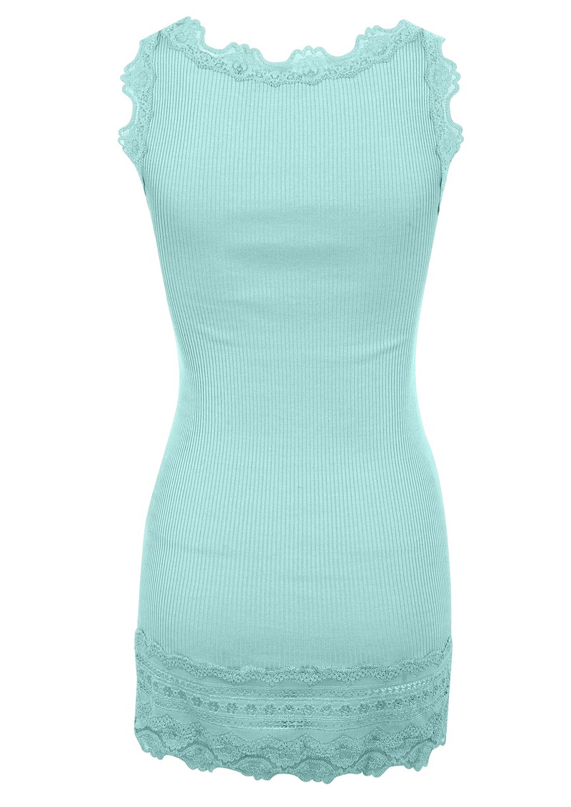 Wide Lace Silk Blend Vest - Ocean main image