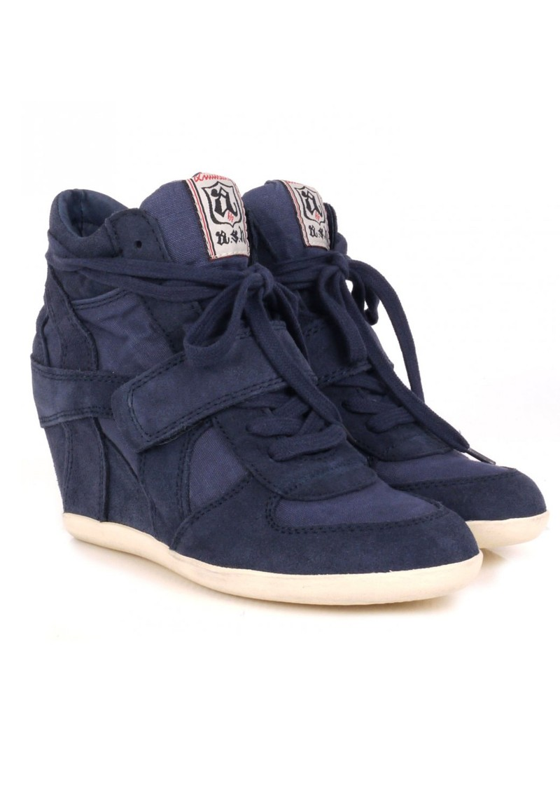 Ash Bowie Canvas and Suede Wedge Trainer - Navy main image
