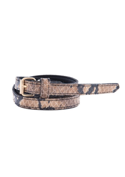 Black & Brown  Amy Slim Snakeskin Belt - Beige main image