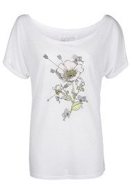 Language Of Flowers Dogrose Pleasure & Pain Boyfriend Tee - White