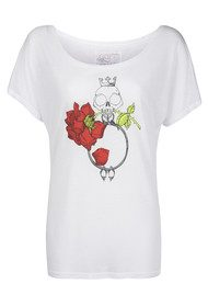 Language Of Flowers Redrose True Love Boyrfriend Tee - White