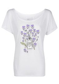Language Of Flowers Viola Love At First Sight Boyfriend Tee - White