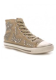 Ash Vibration Nappa Leather Studded Trainers - Taupe