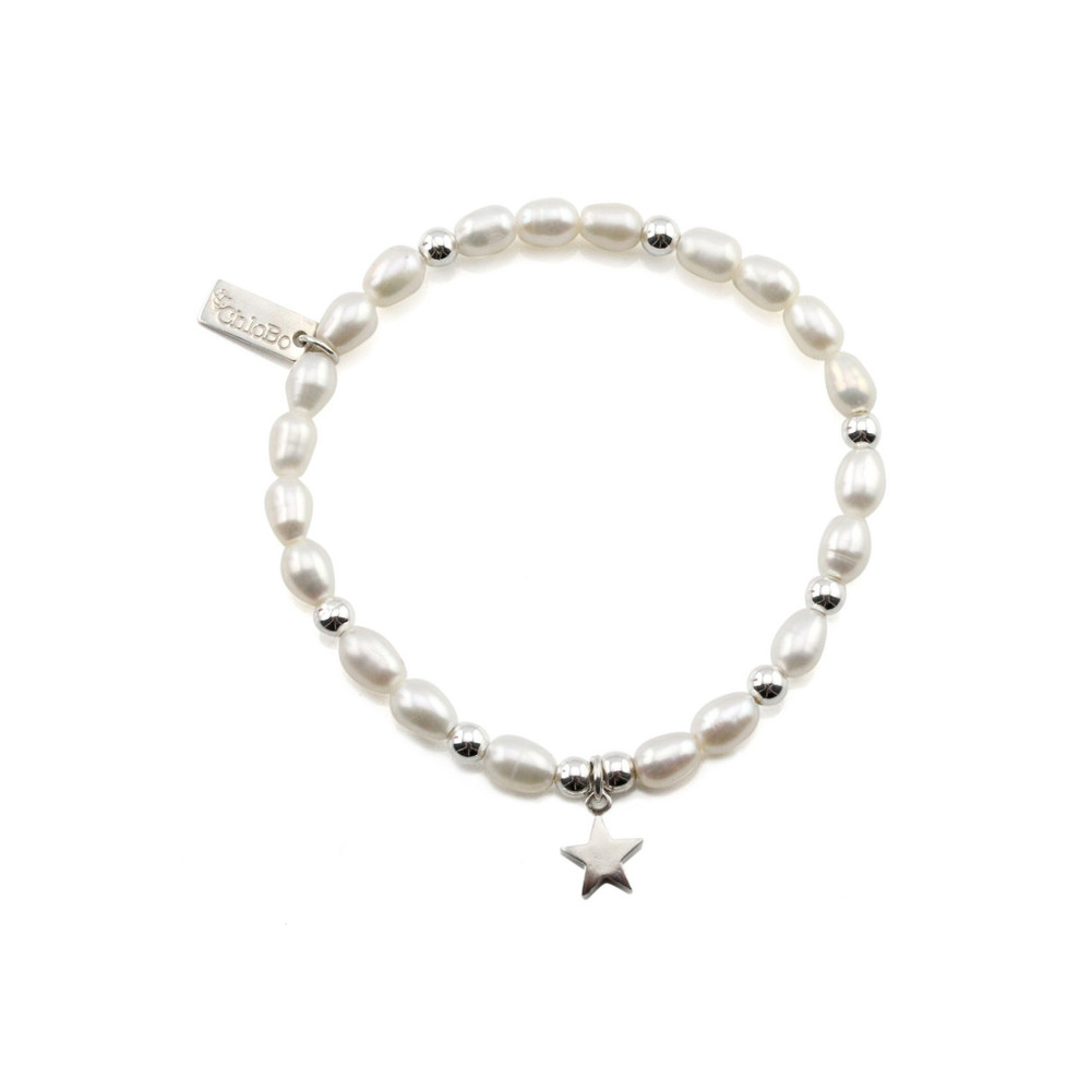 Small Pearl Bracelet with Star Charm - Pearl & Silver