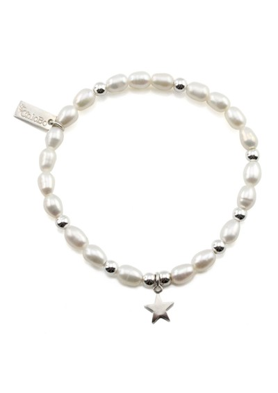 ChloBo Small Pearl Bracelet with Star Charm - Pearl & Silver main image