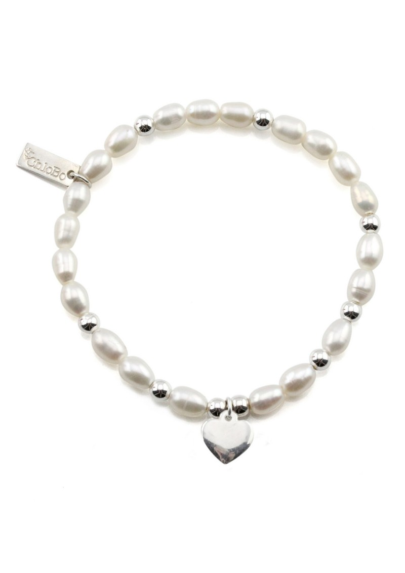 ChloBo Small Pearl Bracelet with Heart Charm - Pearl main image
