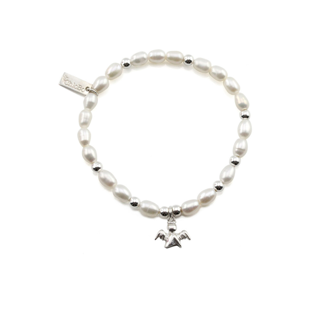 Oystins Small Pearl Bracelet with Angel Charm  Pearl