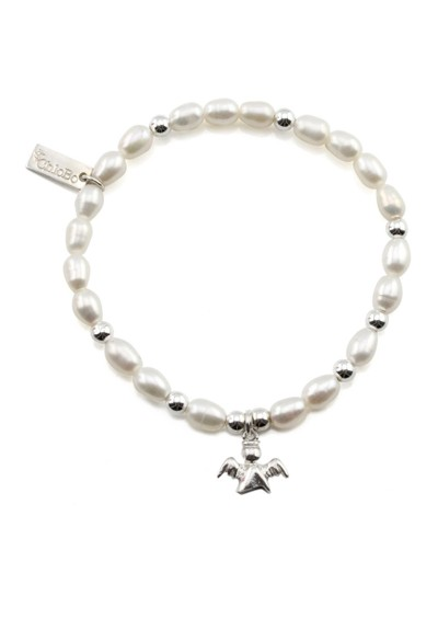 ChloBo Oystins Small Pearl Bracelet with Angel Charm - Pearl main image