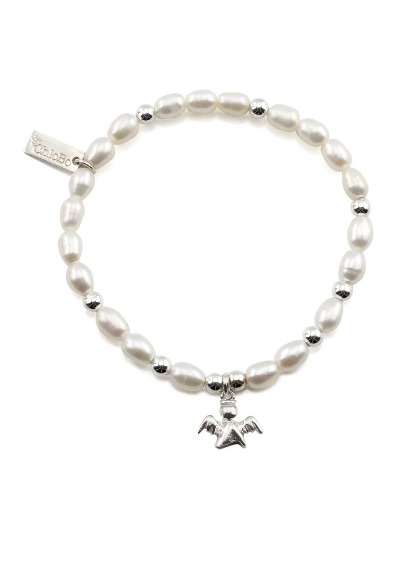 Oystins Small Pearl Bracelet with Angel Charm - Pearl main image