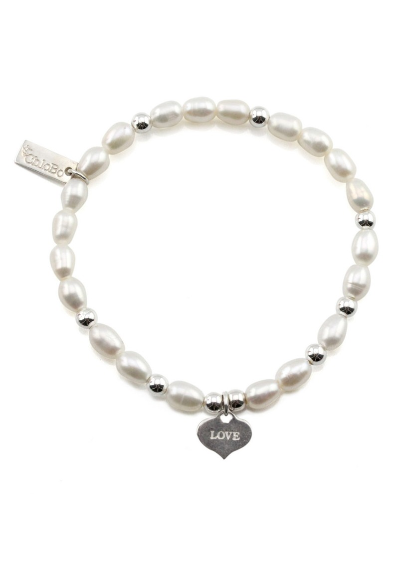 Oystins Small Pearl Bracelet with Love Always Charm - Pearl main image
