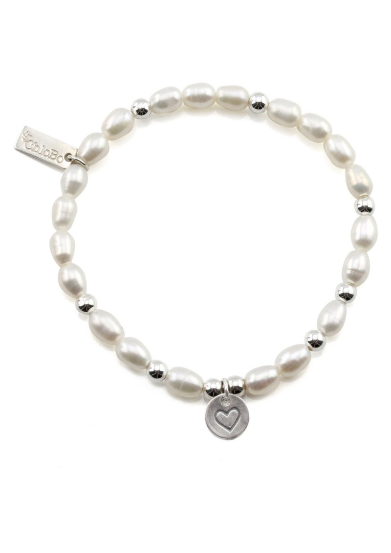 ChloBo Small Pearl Bracelet with Heart in Circle Charm - Pearl & Silver main image