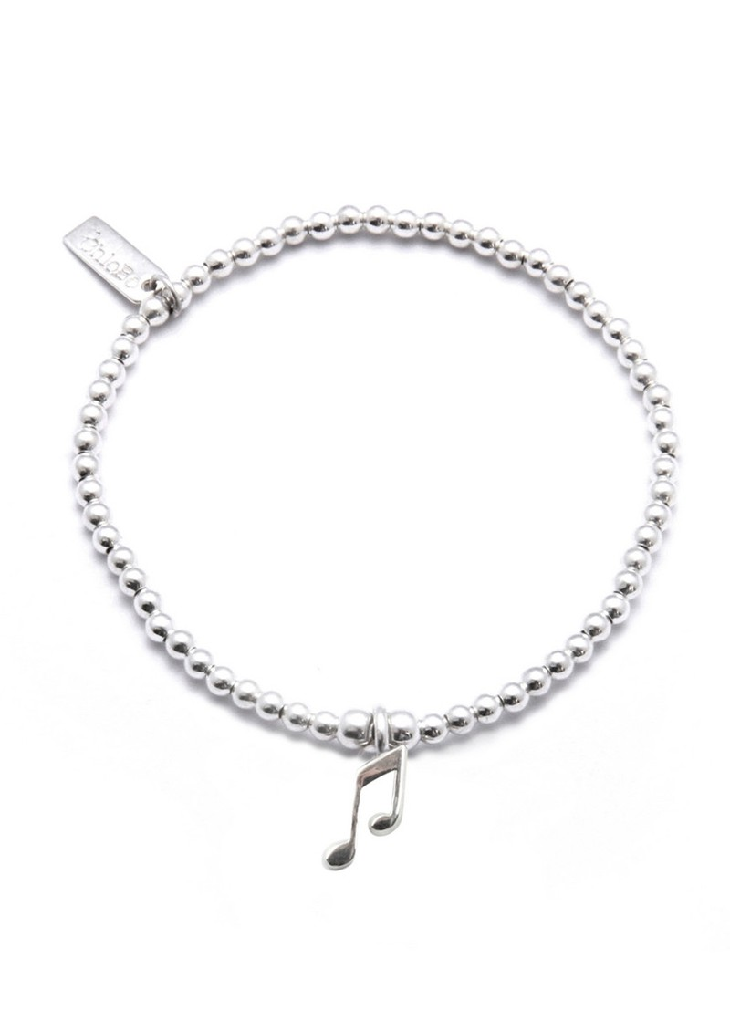 Cute Charm Bracelet with Music Note Charm - Silver main image