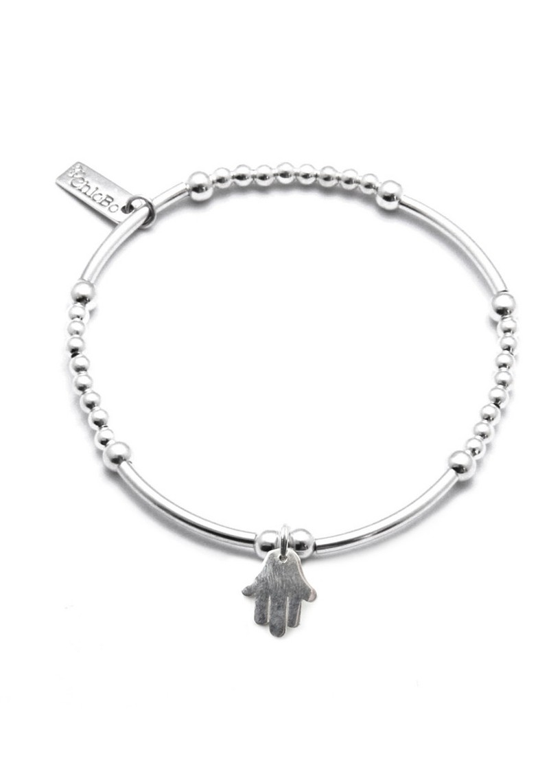 Cute Mini Bracelet With Hamsa Hand Charm - Silver main image