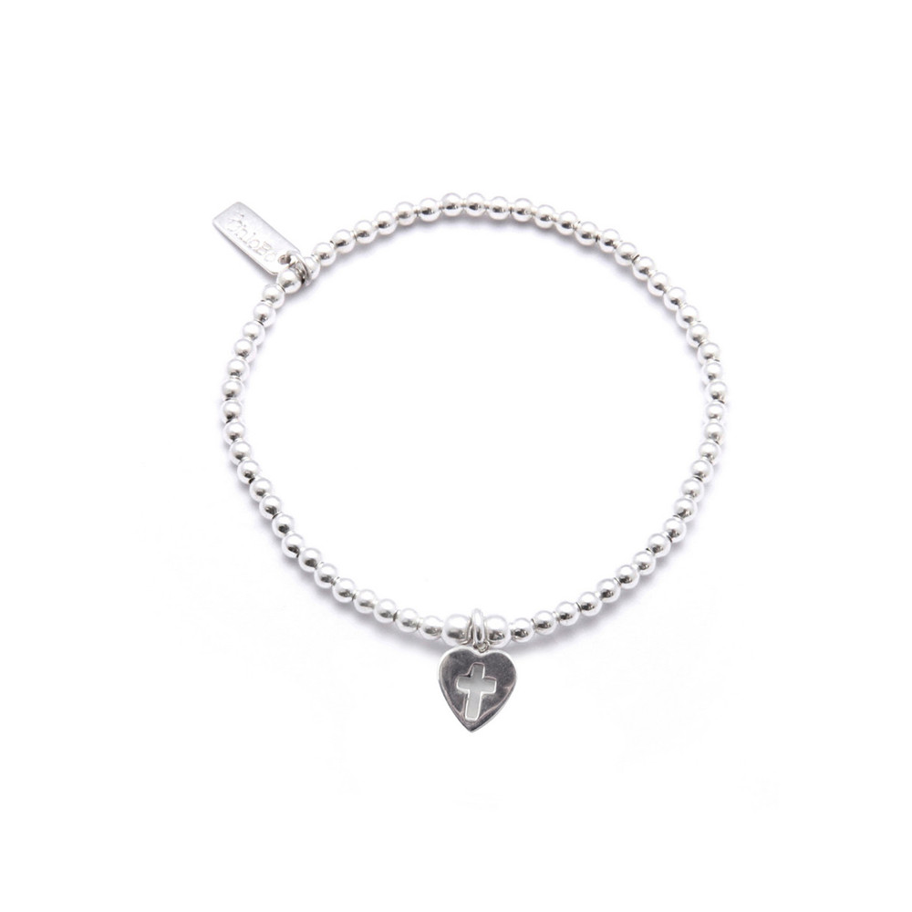Cute Charm Bracelet with Cross In Heart Charm - Silver