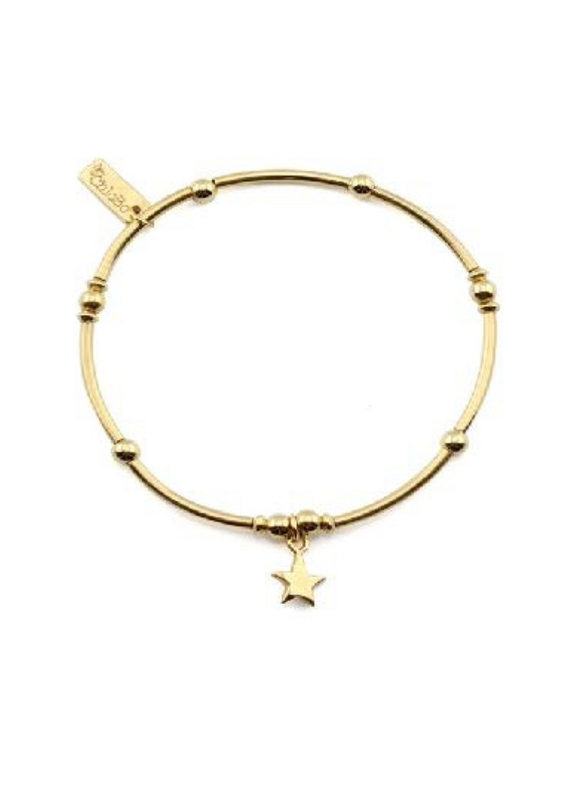 ChloBo Cloud 9 Gold Plated Mini Noodle Ball Bracelet With Star Charm - Gold main image