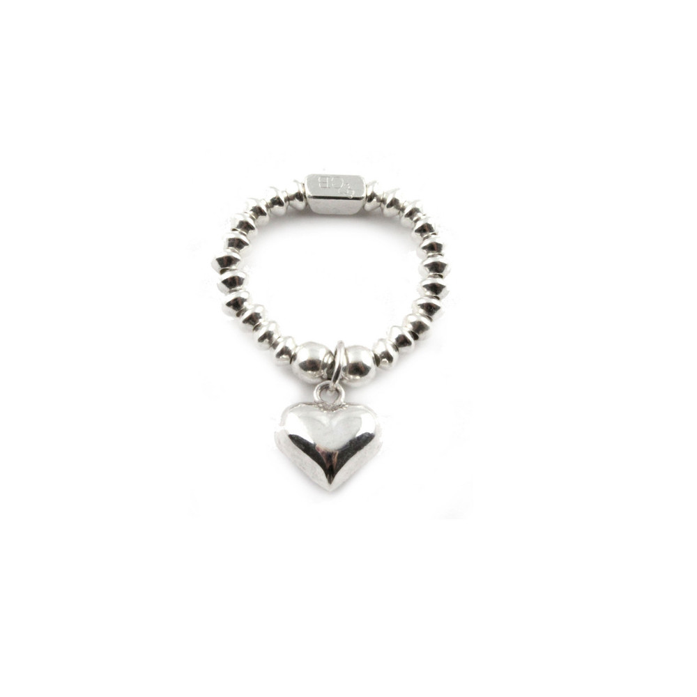 Mini Disc Ring With Heart Charm - Silver