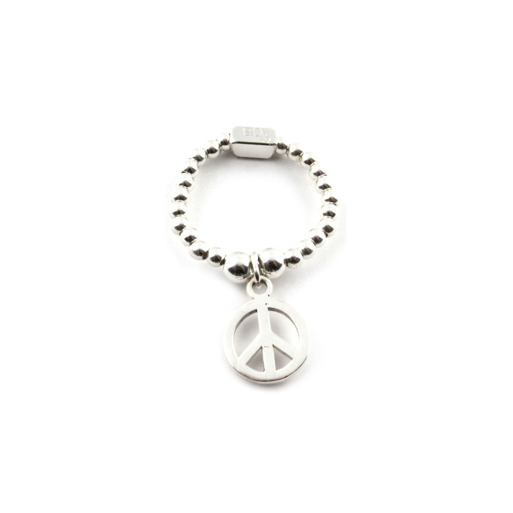 Mini Ball Ring With Peace Charm - Silver
