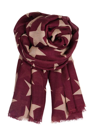 Becksondergaard E Supersize Nova Star Wool & Silk Blend Scarf - Grape Wine main image