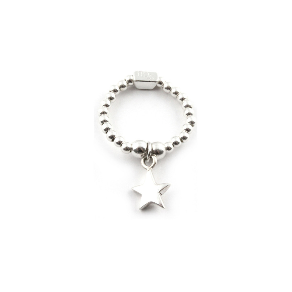 Mini Ball Ring With Star Charm - Silver