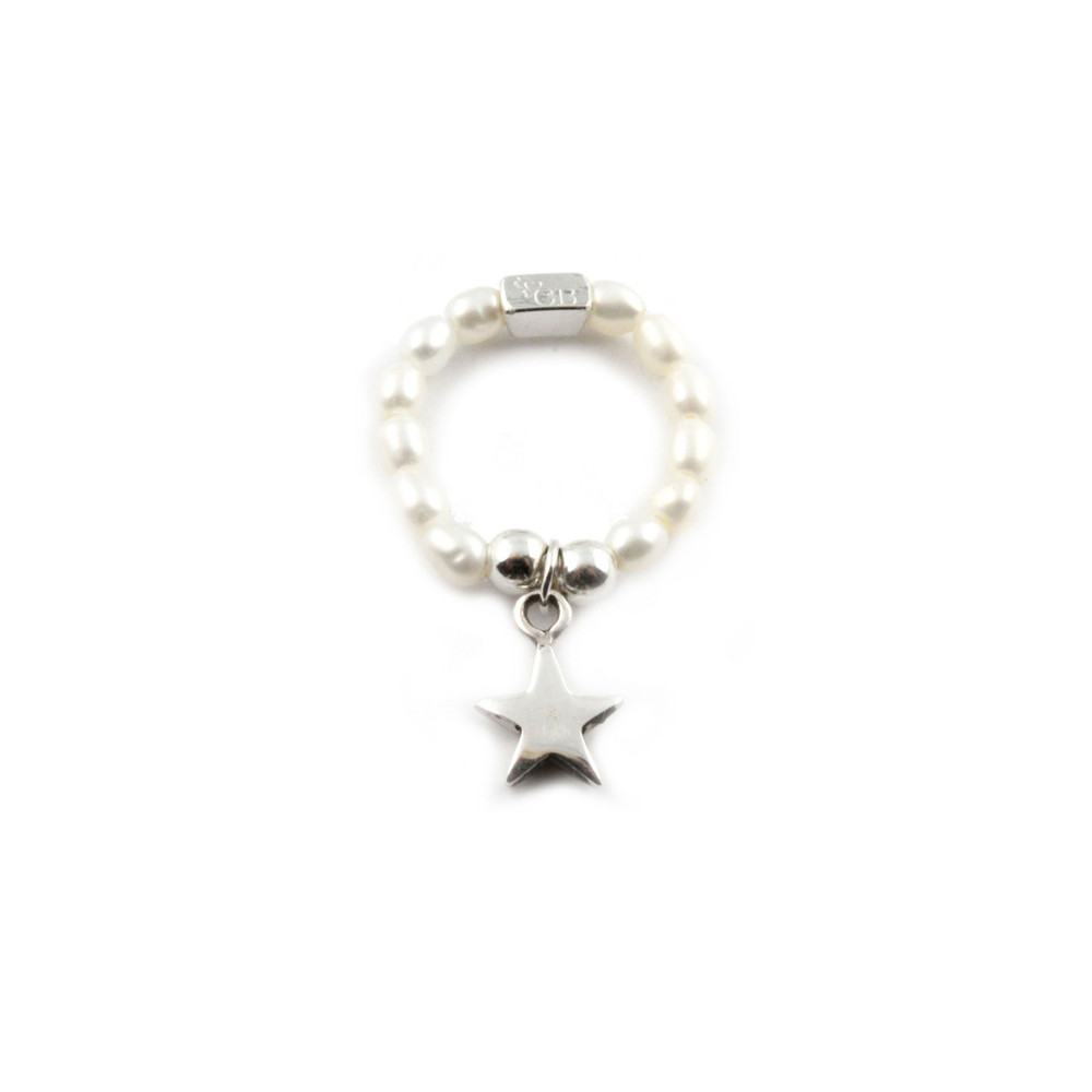 Pearl Ring With Star Charm - Pearl & Silver
