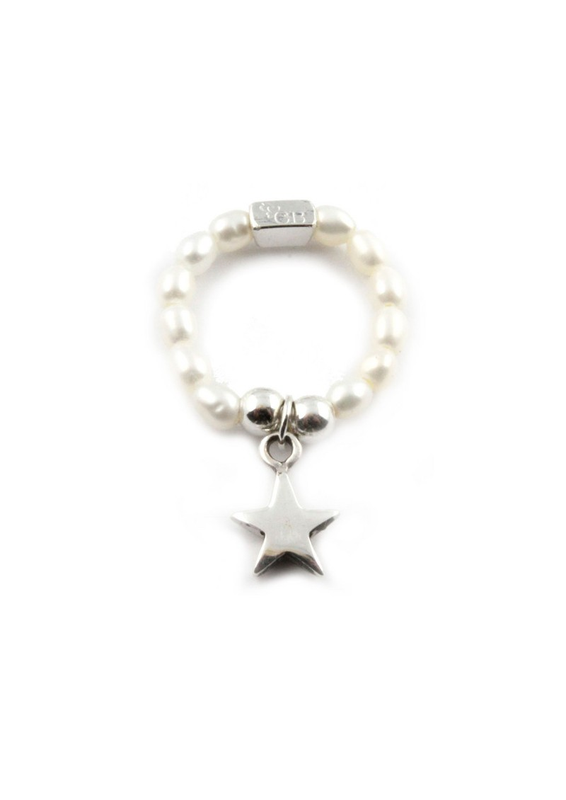ChloBo Pearl Ring With Star Charm - Pearl & Silver main image