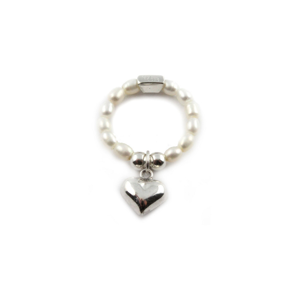 Pearl Ring With Heart Charm - Pearl & Silver