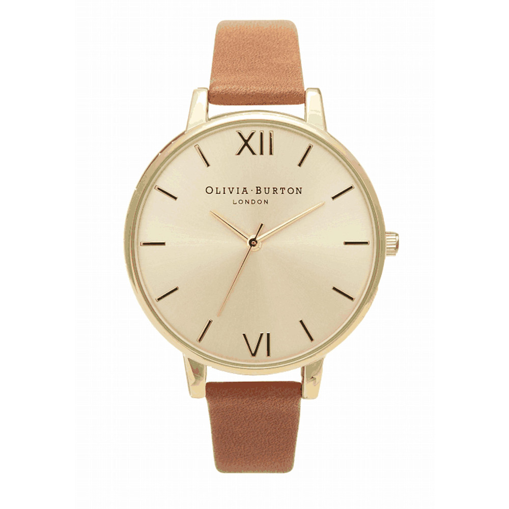 Big Dial Gold Plated Watch - Tan