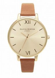 Olivia Burton Big Dial Gold Plated Watch - Tan