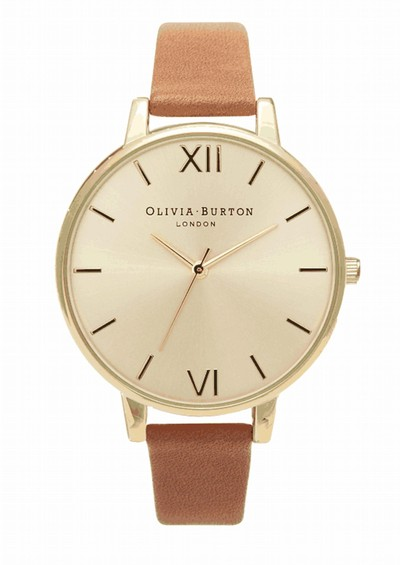Olivia Burton Big Dial Gold Plated Watch - Tan main image