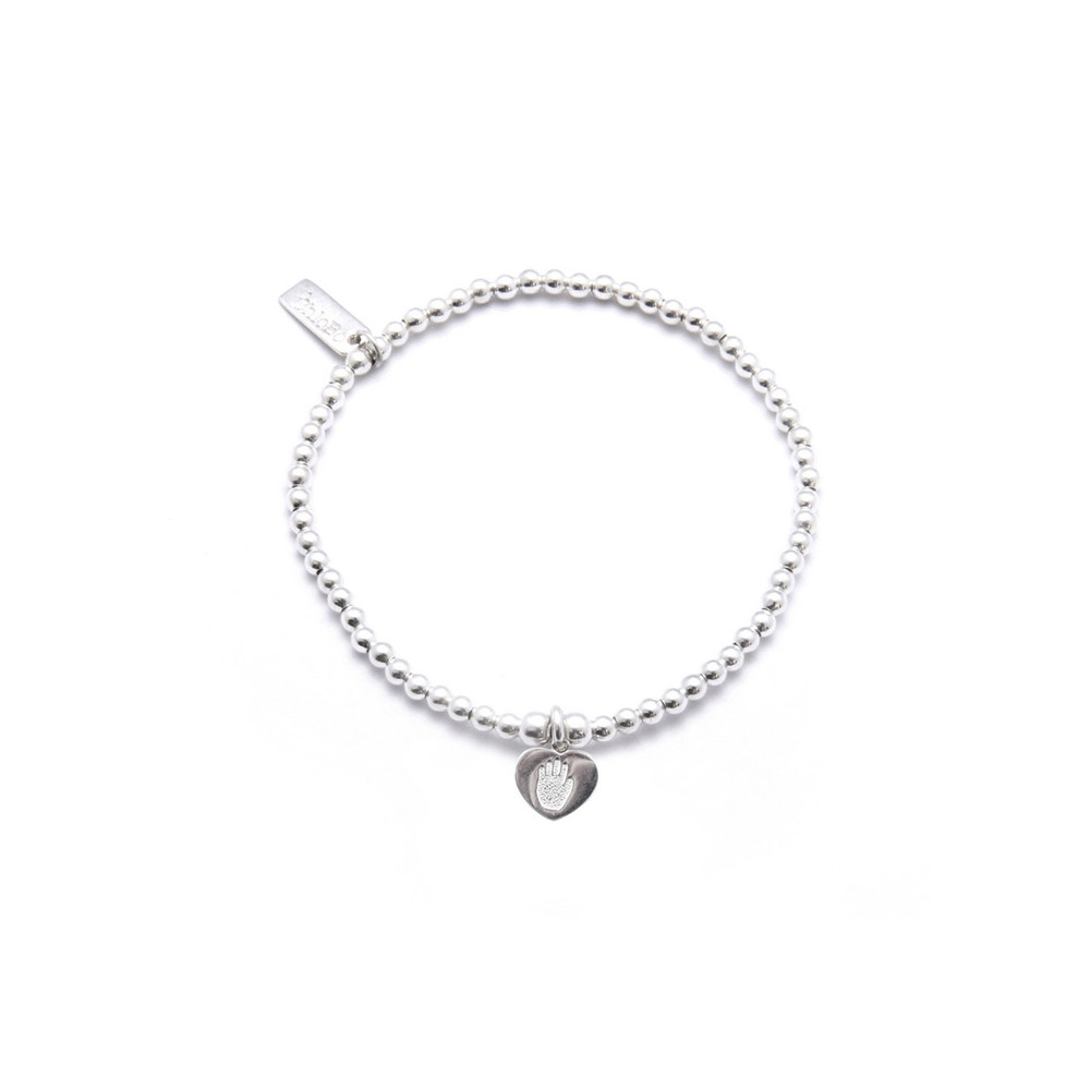 Cute Charm Bracelet with Hand On Heart Charm - Silver