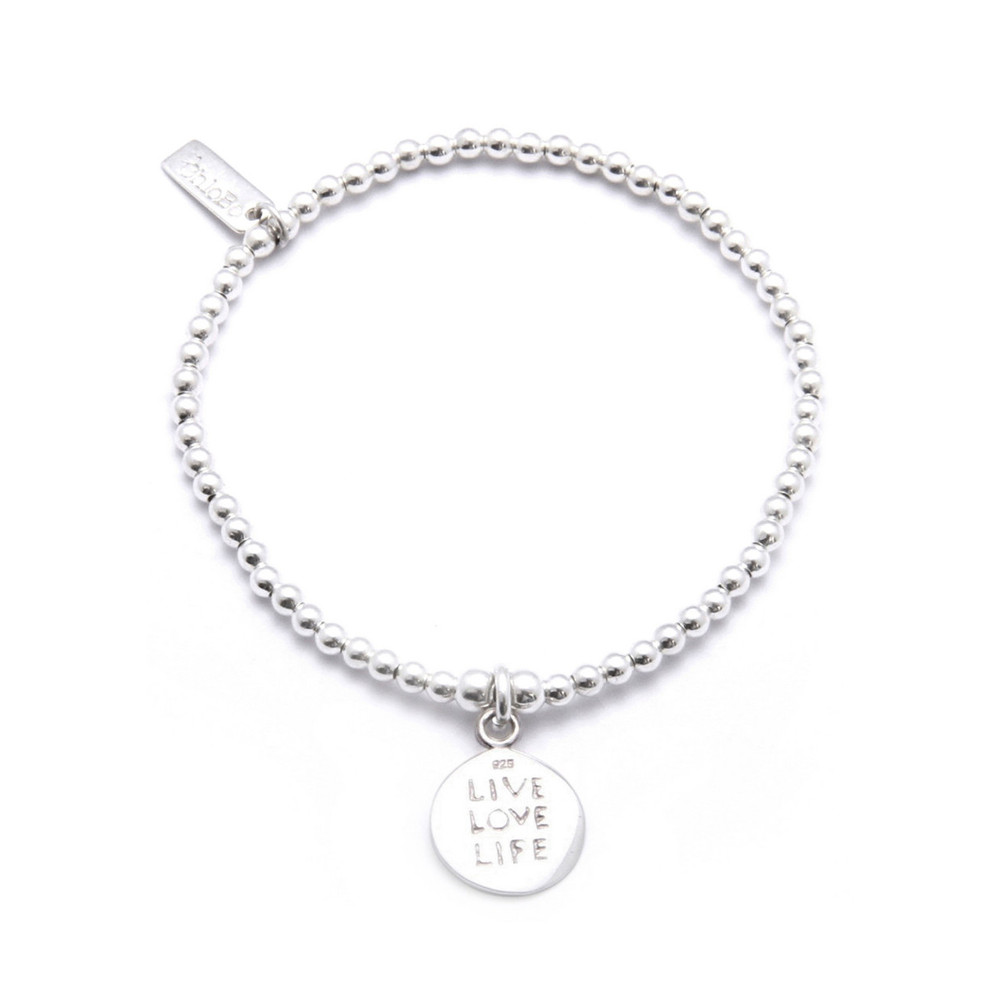 Cute Charm Bracelet with Live Love Life Charm - Silver
