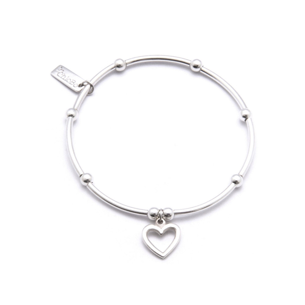 Mini Noodle Ball Bracelet With Open Heart Charm  Silver