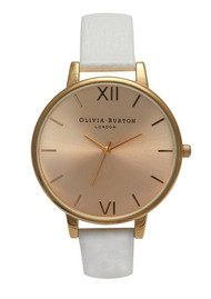 Olivia Burton Big Gold Dial Watch - White
