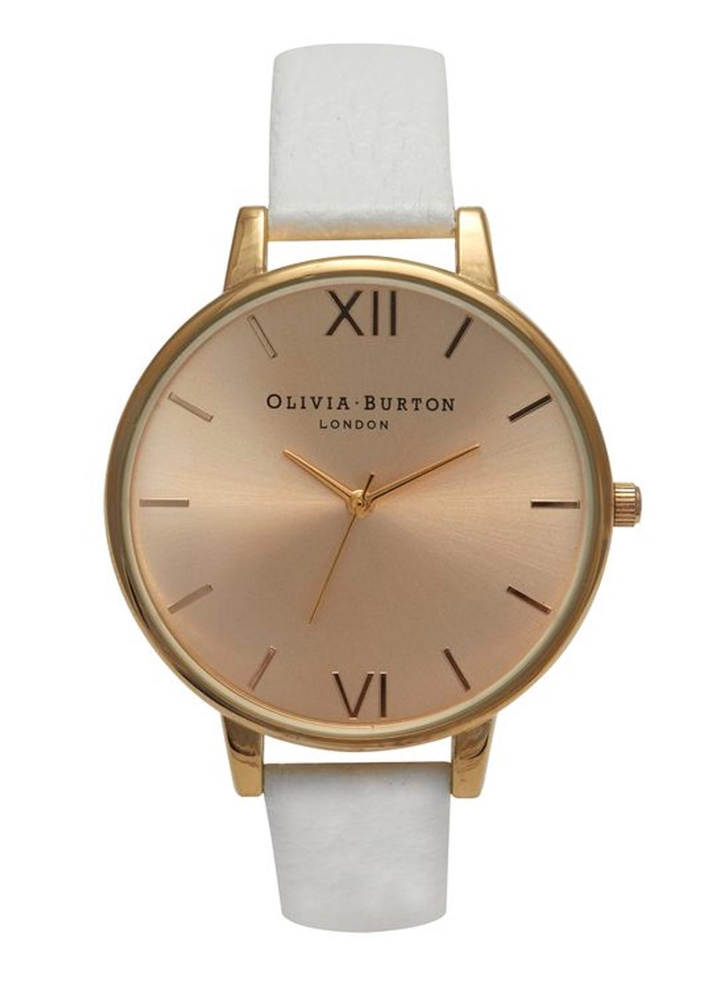 Olivia Burton Big Gold Dial Watch - White main image