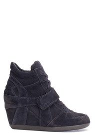 Bowie Calf Suede Wedge Trainers - Black