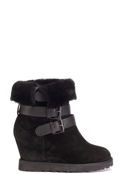 Ash Yes Calf Suede and Shearling Boot - Black main image