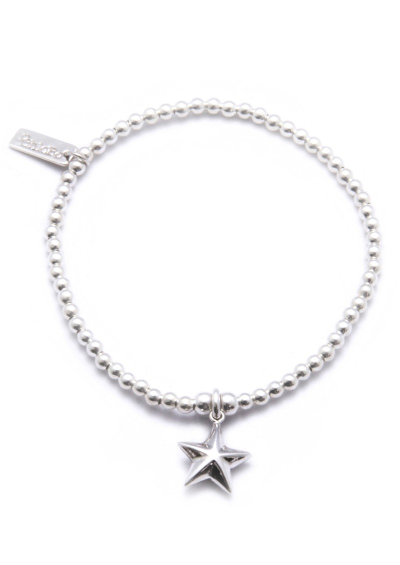 Cute Charm Bracelet With 3D Star Charm - Silver main image