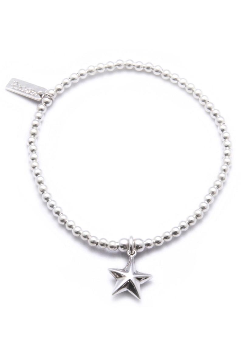 ChloBo Cute Charm Bracelet With 3D Star Charm - Silver main image