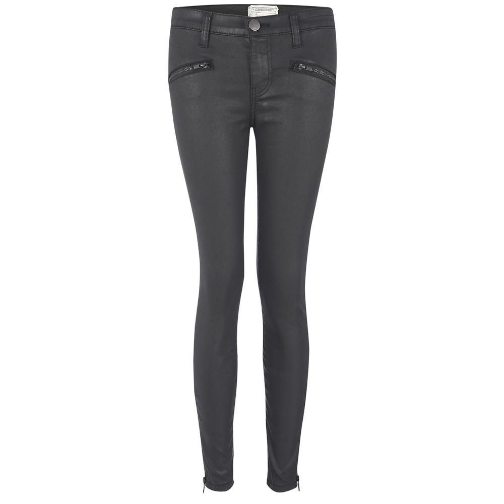 The Soho Zip Stiletto Jeans - Coated Black