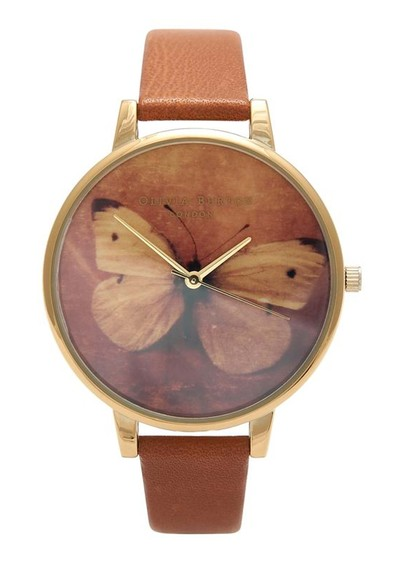 Olivia Burton Woodland Butterfly Watch - Gold & Tan main image
