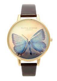 Olivia Burton Woodland Butterfly Watch - Gold & Dark Chocolate