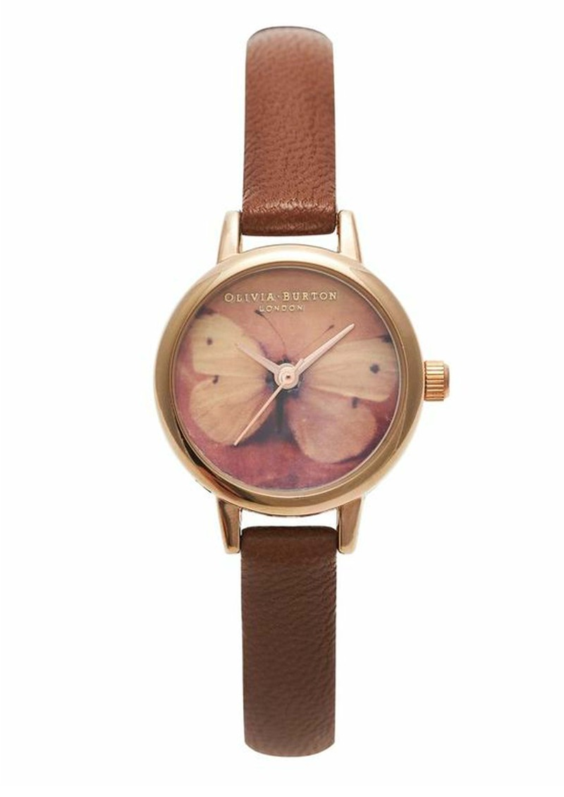 Olivia Burton Mini Woodland Butterfly Watch - Rose Gold & Brown main image