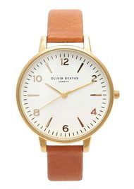 Olivia Burton Large White Face Watch - Gold & Tobacco