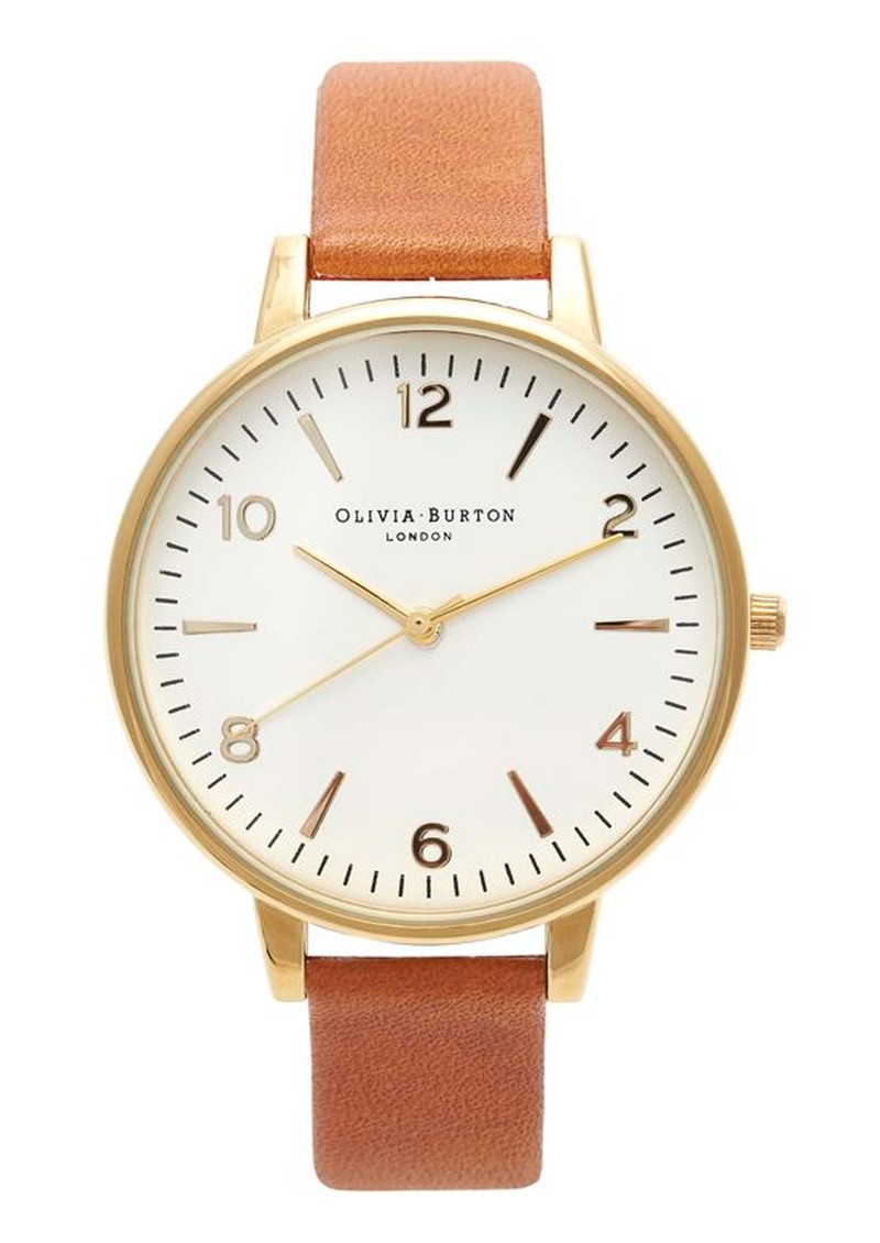 Olivia Burton Large White Face Watch - Gold & Tan main image