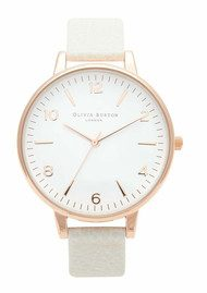 Olivia Burton Large White Face Watch - Rose Gold & Mink