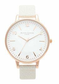 Olivia Burton Large White Face Watch - Rose Gold & Mink