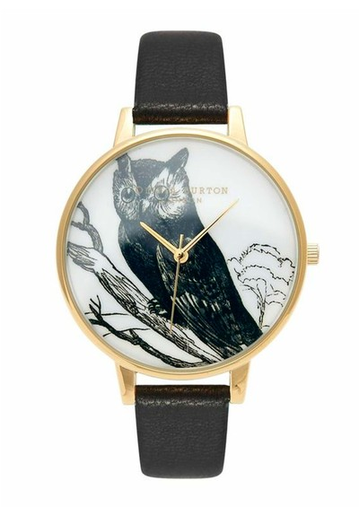 Olivia Burton Owl Animal Motif Watch - Gold & Black main image