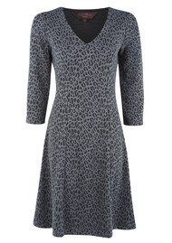 Leopard Love V Neck Dress - Dark Grey & Black