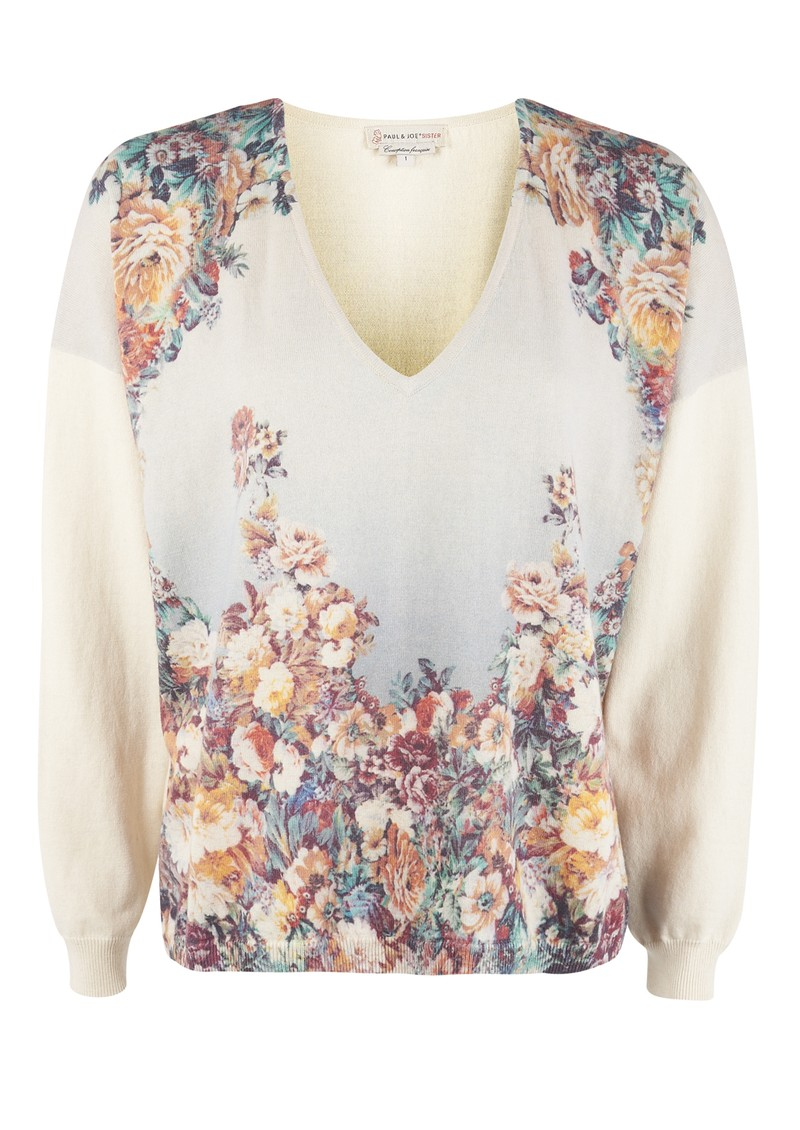 Paul and Joe Sister Panache Floral Jumper - Ecru main image